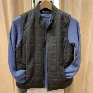 Talbot's Quilted Gray Italian Wool Vest Size 8